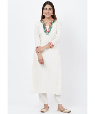 Off-White Freedom Multi Color Mirror Kurti with Straight Pants