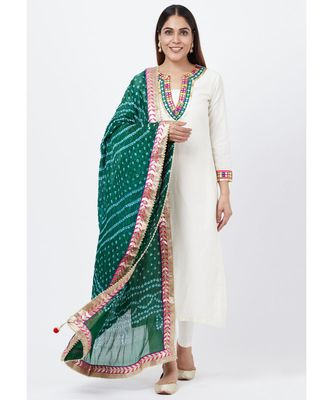 Off-White Freedom Multi Color Mirror Kurti with Straight Pants and Bandhej Dupatta