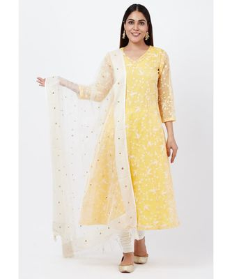 Breezy Lemon Chikankari Embroidered Anarkali with churidaar and Sequenced Dupatta