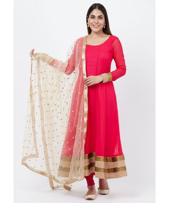 FUSCIA PINK ANARKALI WITH CHURIDAR AND SEQUENCED DUPATTA