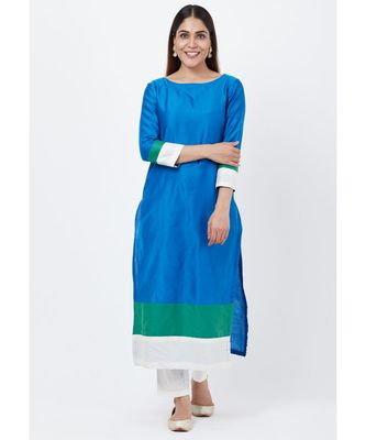 Blue Green Official Straight Kurti with Straight Pants