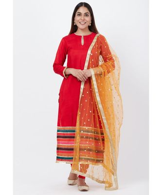 Red Multi-Border Kurti with Staright Pants and Sequenced Dupatta