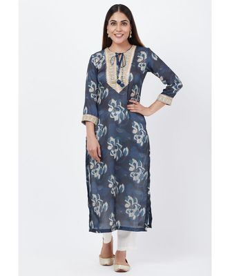 Gray Floral Embroidered Silk Kurti with Off-White Palazzo