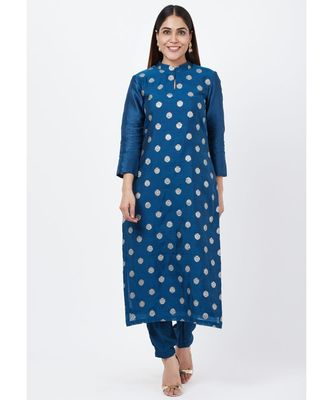 Blue Chanderi Thread Embroidered Kurti with Straight Pants