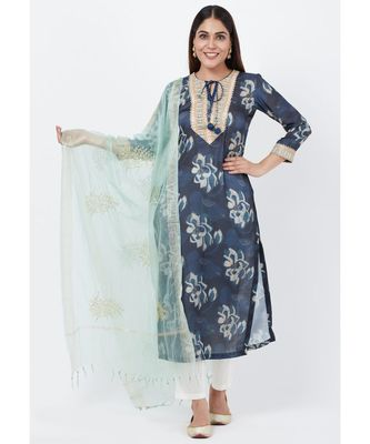 Gray Floral Embroidered Silk Kurti with Off-White Palazzo and Festive Dupatta