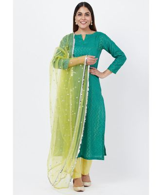 Green Silk Self Embroidered Kurti with Straight Pants and Sequenced Dupatta
