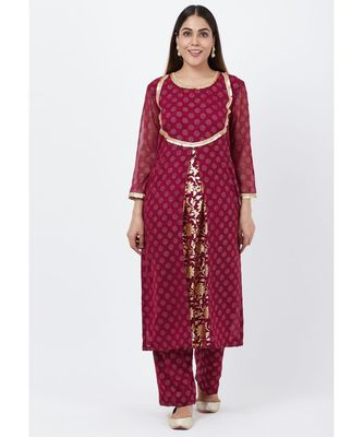 Purple Georgette Foil Pleated Kurti with Foil Printed Palazzo