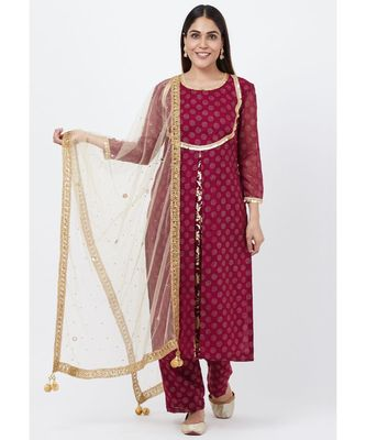 Purple Georgette Foil Pleated Kurti with Foil Printed Palazzo and Mirror Stone Dupatta