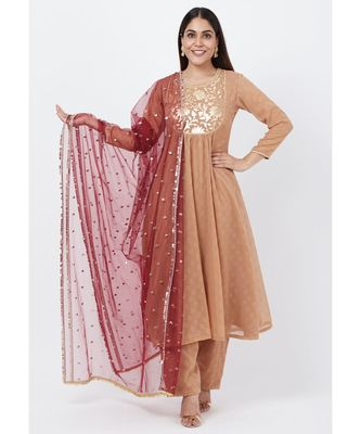 Gold Georgette Foil Gathered Kurti with Straight Palazzo and Sequenced Dupatta