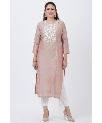 Cool Gray Embroidered Kurti with Straight Pants