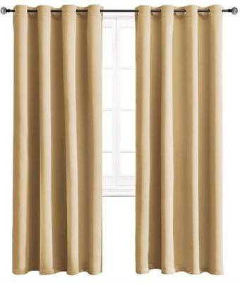 Indiancraft (5ft) Polyester Window Curtain (Pack Of 2) (Plain, Beige)
