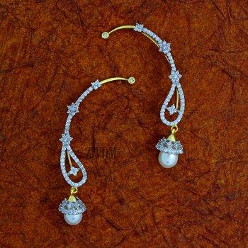 Silver cubic zirconia ear-cuffs