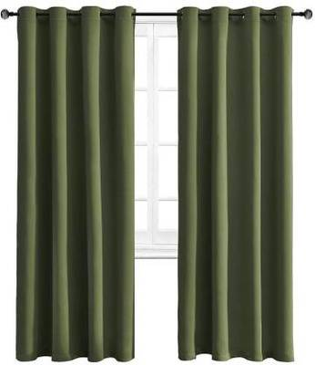 Indiancraft (5 ft) Polyester Window Curtain (Pack Of 2) (Plain, Green)
