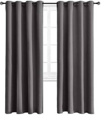 Indiancraft (5 ft) Polyester Long Door Curtain (Pack Of 2) (Plain, Grey)