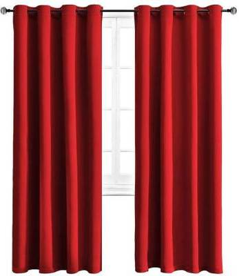 Indiancraft (5 ft) Polyester Window Curtain (Pack Of 2) (Plain, Red)