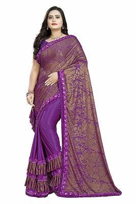 purple printed cotton saree with blouse