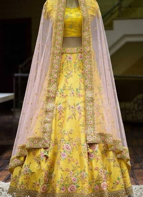 Glorious Yellow Colored With Embrodariy Work Silk Lehenga Choli