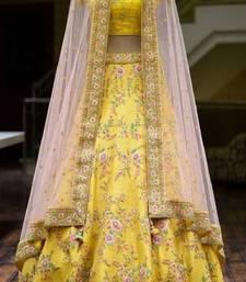 Glorious Yellow Colored With Embrodariy Work Silk Lehenga Choli