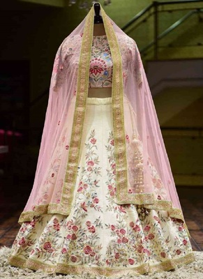 BEAUTIFUL OFF WHITE COLORED DESIGNER PARTYWEAR EMBROIDERED WORK SILK MATERIAL LEHENGA CHOLI