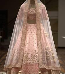 Pastel Pink Colored Partywear Designer Embroidered Silk Materail Lehenga Choli