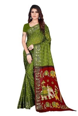 Mehendi hand woven art silk saree with blouse
