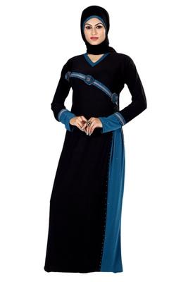 Buy Black Stone Worked Readymade Burka Online