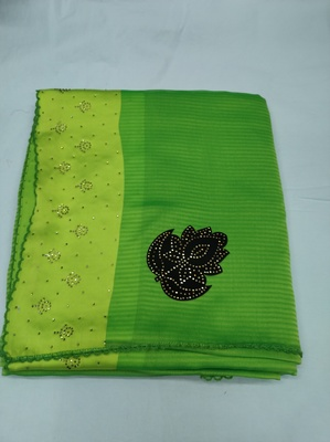 Green plain silk blend saree with blouse