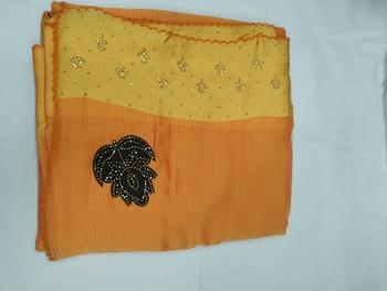 Orange plain silk blend saree with blouse