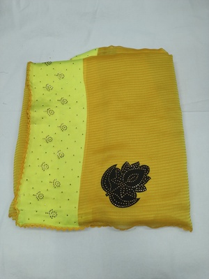Yellow plain silk blend saree with blouse