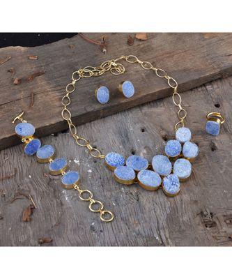 ice blue duzzy stone designer stylish fashionable unique full set
