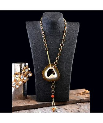 brown natural stone natural  lock designer stylish fashionable scarf necklace
