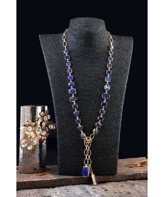 blue stylish natural stone designer fashionable smart look scarf necklace