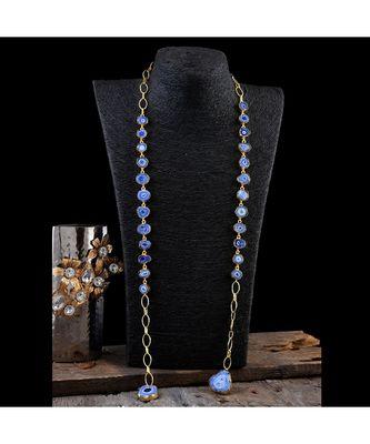 blue duzzy natural stone classy western style fashionable designer neckpiece