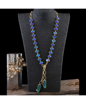 Blue Dual Tone Smart Look Designer Fashionable Stylish Westrn Look Scarf Necklace