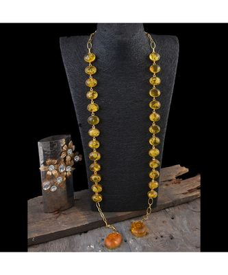 yellow natural  stone smart look designer scarf pattern stylish latest  necklace