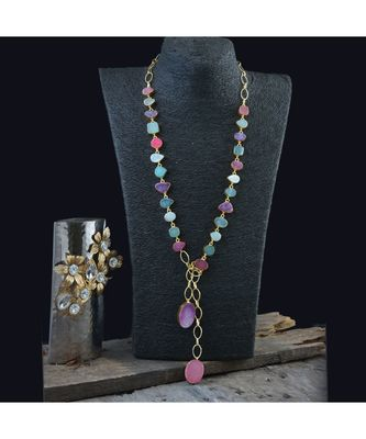 multicolour stylish natural stone duzzy fashionable beautiful scarf necklace