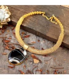 Golden  Brown Designer Necklace With Smart Designer Natural Stone Locket