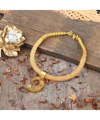 golden  black designer necklace with smart designer natural stone locket