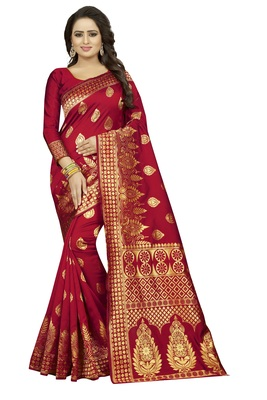 Maroon Women's Jacquard Silk Designer Saree With Blouse