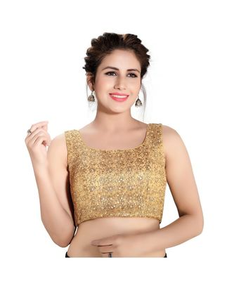 Gold sleeveless embroidered shimmer padded saree blouse