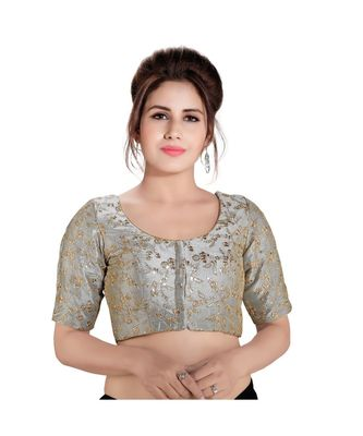Floral zari embroidered padded saree blouse