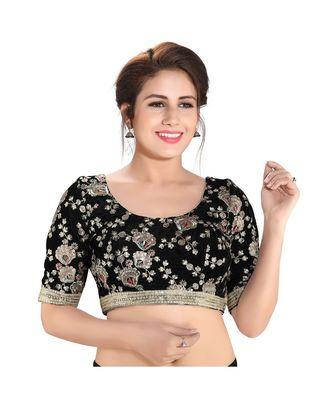 High neck golden zari embroidered designer saree blouse
