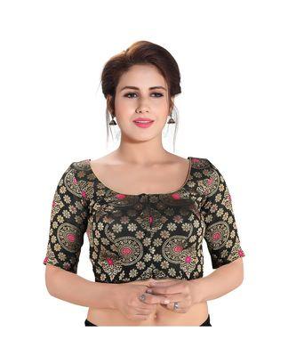 Black printed brocade readymade designer saree blouse