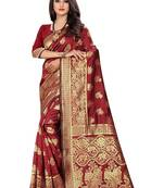 Buy Maroon Woven Banarasi Silk Saree With Blouse