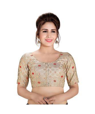 Grey printed brocade readymade designer saree blouse