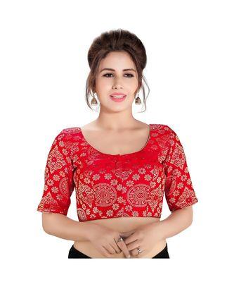 Red printed brocade readymade designer saree blouse