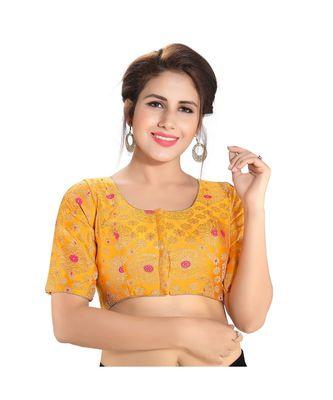 Yellow printed brocade readymade designer saree blouse