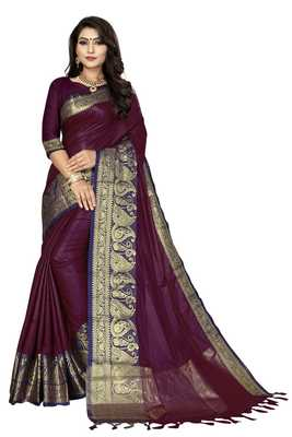 Purpal color Soft cotton silk heavy border saree with blouse