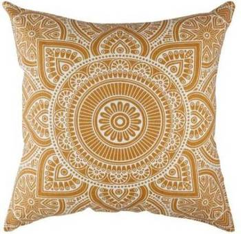 Indiancraft Printed Cushions Cover  (Pack of 2, 60 cm*60 cm, Gold)