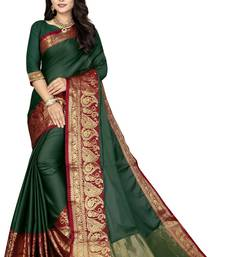 Green Color Soft Cotton Silk Heavy Border Saree With Blouse